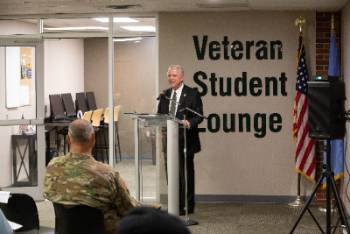 2019 ribbon-cutting ceremony of the Colonel John Rahe Veterans Loung