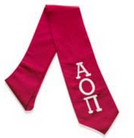 Alpha Omicron Pi red stole with white border and lettering