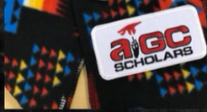 American Indian Gates Scholars black stole with multicolored design and AIGC Scholars patch