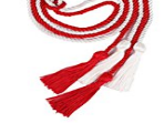 Lamda Pi Eta  red cord tied to a white cord