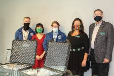 From left to right: Jason Hudson, OSHA Director for Oklahoma Department of Labor, Dr. Mai Anh Vu Tran, NSU, Bryan Keaton, OKlahoma Department of Labor, Dr. Janet Buzzard, NSU, and Dr. Roy Wood, NSU Oklahoma Department of Labor donates equipment thumbnail