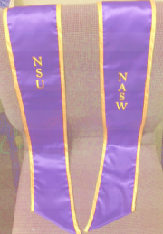 Northeastern Association of Student Social Workers A purple stole with gold trim and lettering