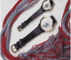 Phi Alpha Theta red cord with red and blue tassels tied to a blue cord with red and blue tassels