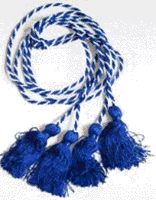 Pi Gamma Mu Blue and white cords with blue tassels