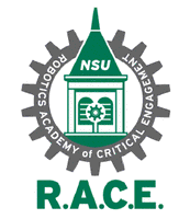 Robotics Academy of Critical Engagement A purple stole with the R.A.C.E. Clocktower and Gear logo