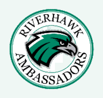 RiverHawk Ambassadors A green stole with the RiverHawk Ambassadors logo