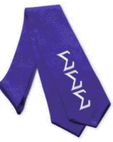 Tri Sigma A purple stole with white lettering and Tri Sigma crest on the opposite side