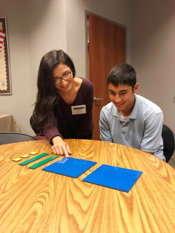 nsu math tutor working with elementary student