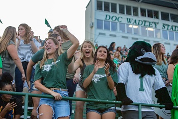 nsu students showing spirit at a football game