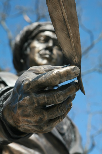 Image of Sequoyah statue holding the pen of knowledge