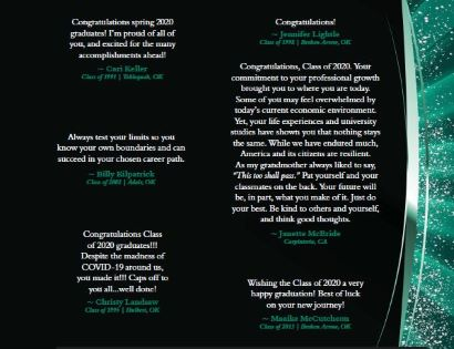 congratulatory statements from alumni to spring 2020 graduates number 8
